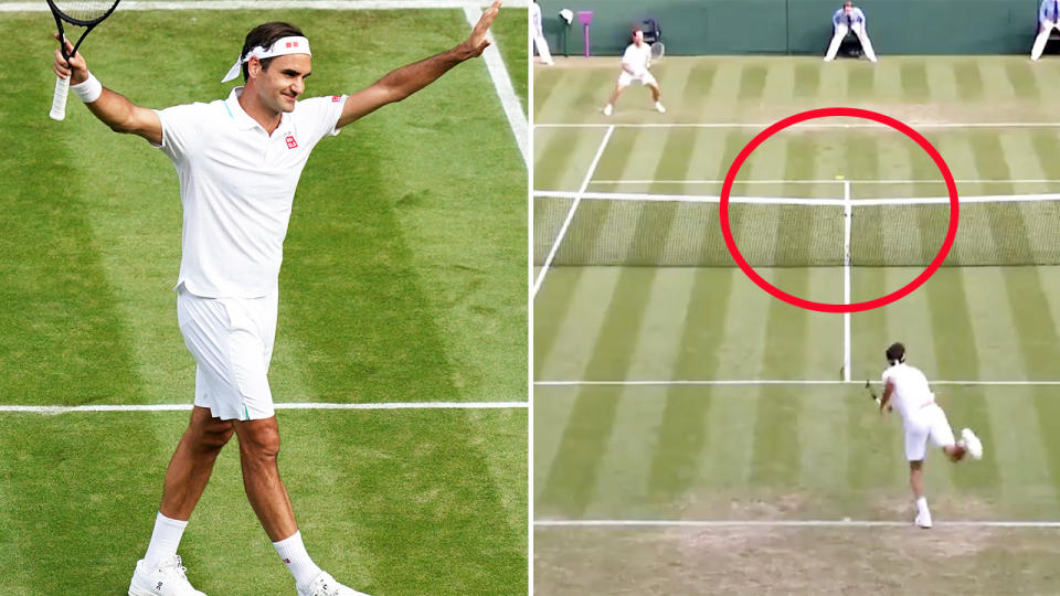 Roger Federer, pictured here sealing his victory over Richard Gasquet at Wimbledon with an ace.