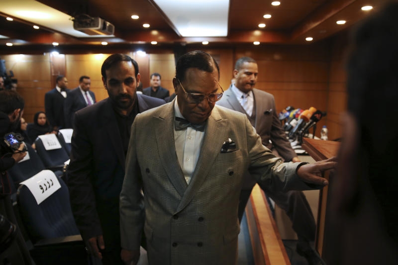 "Minister Louis Farrakhan, the leader of the Nation of Islam, arrives to his press conference, in Tehran, Iran, Thursday, Nov. 8, 2018. Farrakhan warned President Donald Trump not to pull ""the trigger of war in the Middle East, at the insistence of Israel."" The 85-year-old Farrakhan, long known for provocative comments widely considered anti-Semitic, criticized the economic sanctions leveled by Trump against Iran after his pullout from the nuclear deal. (AP Photo/Vahid Salemi)"