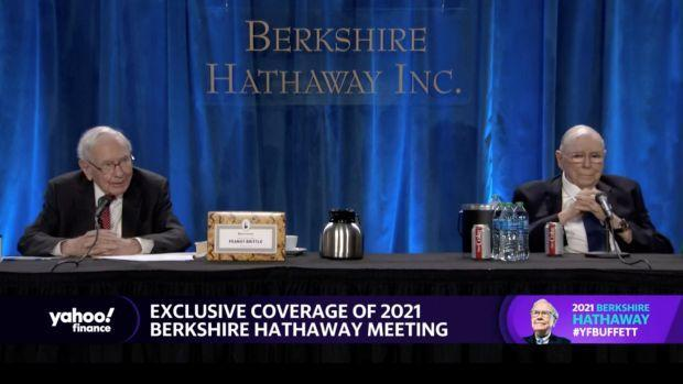 Berkshire Hathaway's chairman and chief executive officer Warren Buffett and vice chairman Charlie Munger speak at Berkshire's annual meeting, held virtually for a second year, in Los Angeles, California, U.S. May 1, 2021