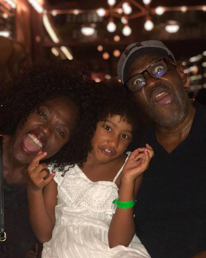 "<p>A family who makes funny faces together, stays together! Davis wrote of her husband and daughter in June 2018, ""Met you with bad credit and skepticism about love. Found you and it all fell away.""</p>"