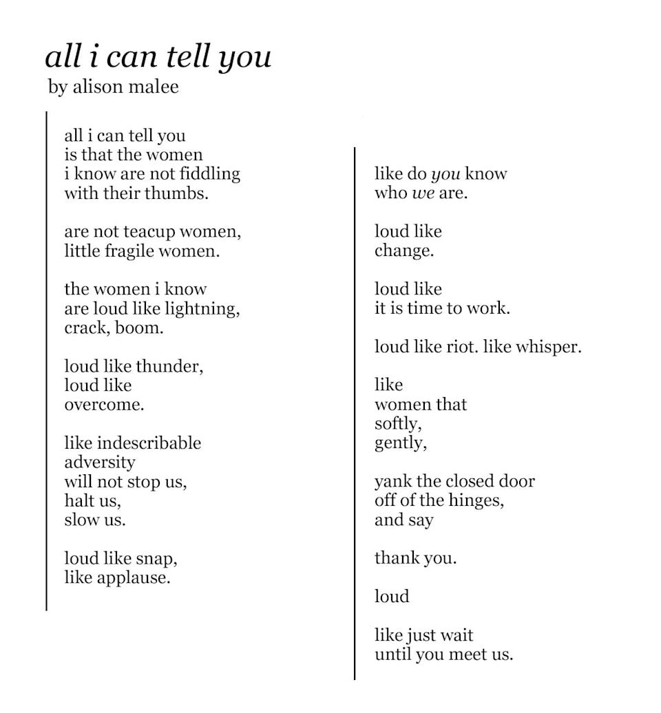 all i can tell you by alison malee