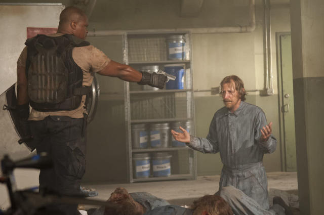 "T-Dog (Robert 'IronE' Singleton) and Axel (Lew Temple) in ""The Walking Dead"" episode, ""Sick."""