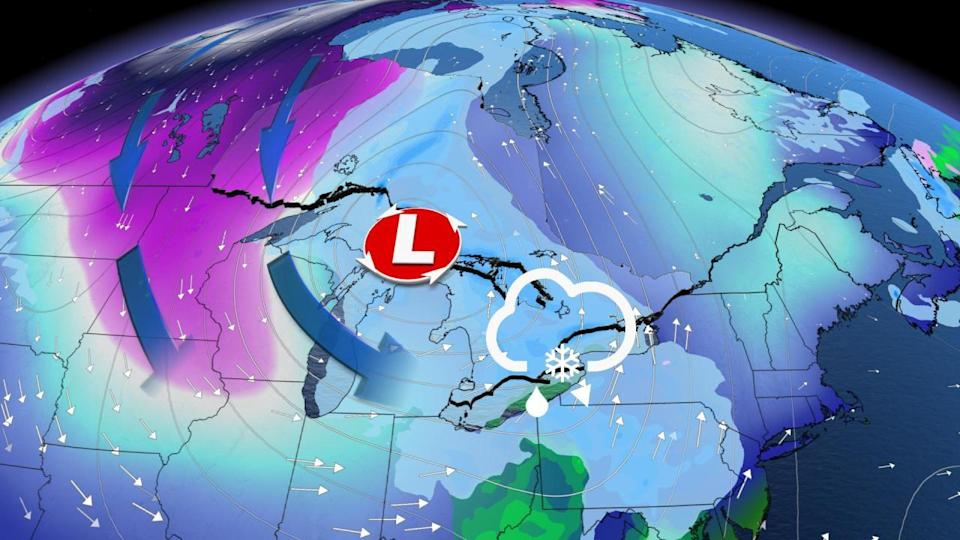 Swath of snow, plunging temperatures, prolonged lake-effect all target Ontario