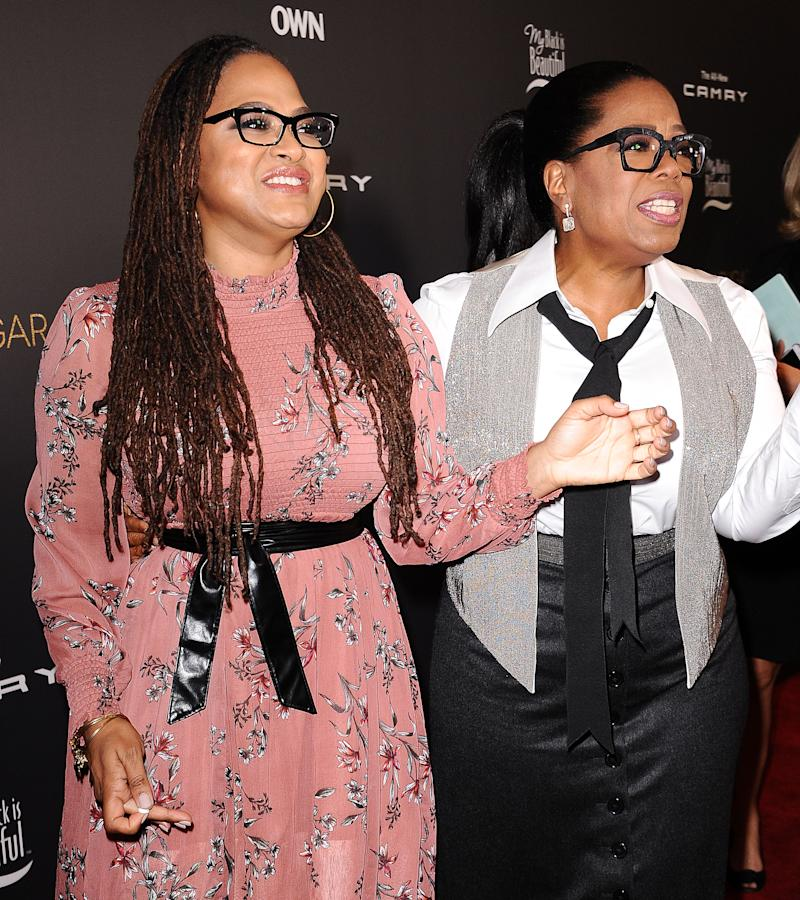 """Ava DuVernay and Oprah Winfrey attends a taping of """"Queen Sugar After-Show"""" at OWN on November 7, 2017 in West Hollywood, California. (Photo by Jason LaVeris/FilmMagic)"""