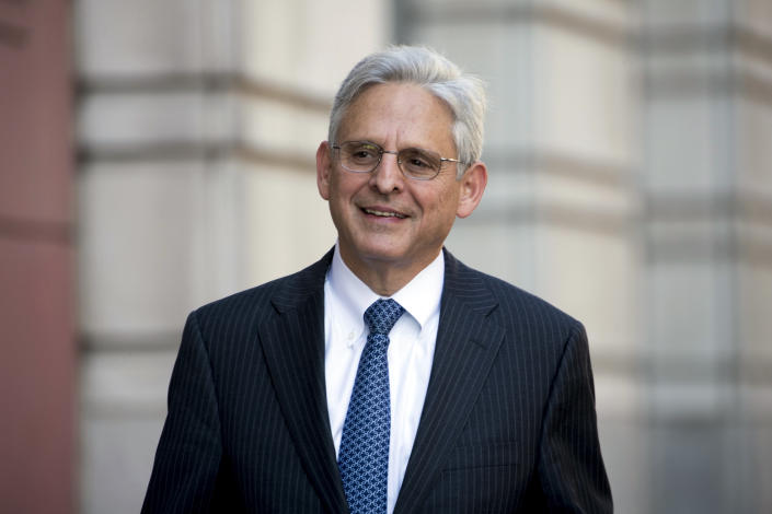 FILE - In this Nov. 17, 2017, file photo, former President Barack Obama's Supreme Court nominee Merrick Garland walks into Federal District Court in Washington. (AP Photo/Andrew Harnik, File)