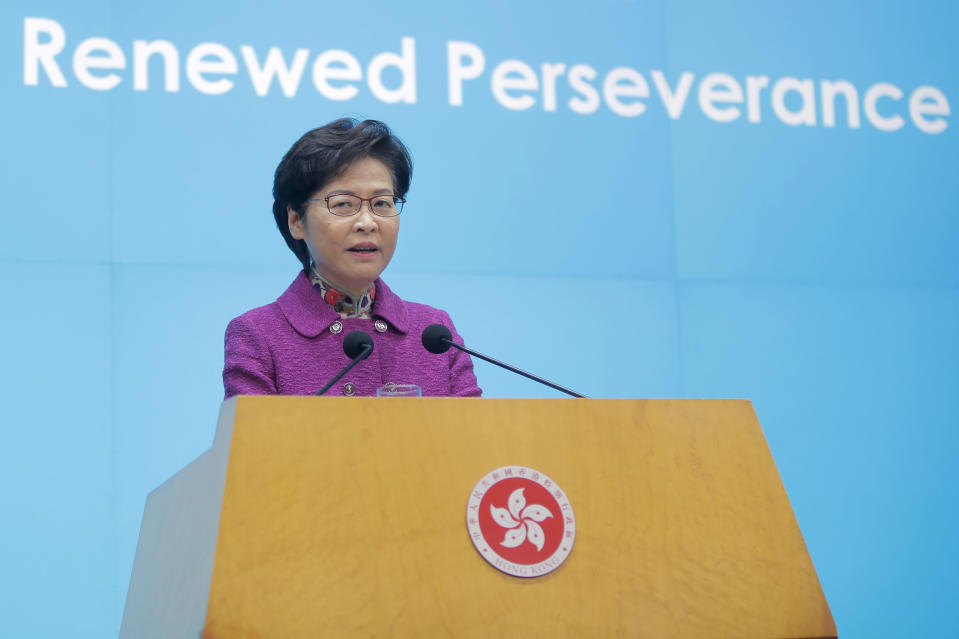 "Hong Kong Chief Executive Carrie Lam speaks during a news conference after delivering her policy address in Hong Kong, Wednesday, Nov. 25, 2020. Lam lauded the city's new national security law on Wednesday as ""remarkably effective in restoring stability,"" despite criticism that it is severely narrowing the space for free speech and political opposition in the semi-autonomous Chinese territory. (AP Photo/Kin Cheung)"