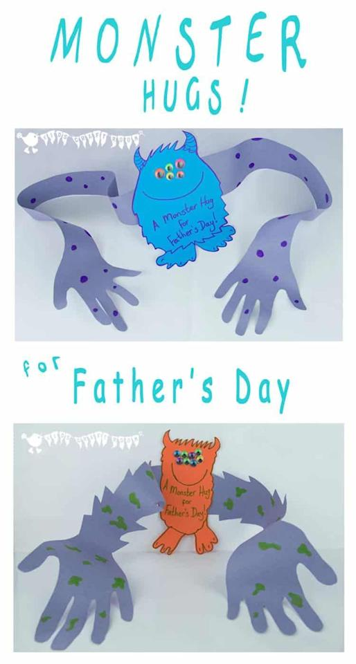 """<p>These Father's Day cards are extra special because the monster arms are molded after the kid's arms. </p><p><strong>Get the tutorial at <a href=""""https://kidscraftroom.com/fathers-day-card-monster-hug-card/"""" target=""""_blank"""">Kids' Craft Room.</a></strong></p>"""