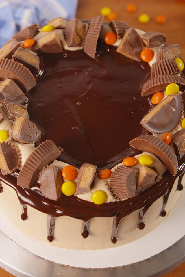 """<p><span>If you're a true Reese's lover, this cake is for you.</span></p><p>Get the recipe from <a rel=""""nofollow"""" href=""""http://www.delish.com/cooking/recipe-ideas/recipes/a52704/reeses-explosion-cake-recipe/"""">Delish</a>.</p>"""