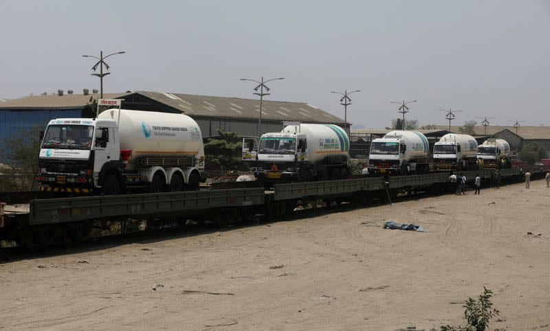FILE PHOTO: Empty cryogenic tankers onboard the BOMN wagon before being transported to a Liquid Medical Oxygen (LMO) plant for refilling