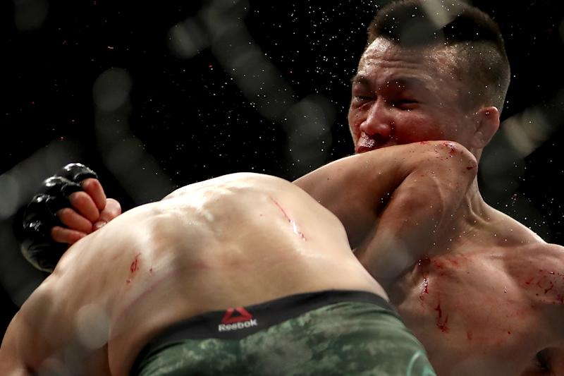 DENVER, CO - NOVEMBER 10: Chan Sung Jung is hit with a knock-out elbow from Yair Rodríguez with four seconds left in the fifth and final round to end their Featherweight bout during the UFC Fight Night 139 at the Pepsi Center on November 10, 2018 in Denver, Colorado. (Photo by Matthew Stockman/Getty Images)