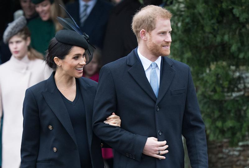 "Meghan, Duchess of Sussex and Prince Harry, Duke of Sussex <a href=""https://www.elle.com/culture/celebrities/a25670025/meghan-markle-dress-christmas-service-2018/"" target=""_blank"" rel=""noopener noreferrer"">attend Christmas Day church service</a> at Church of St. Mary Magdalene Christmas Day."
