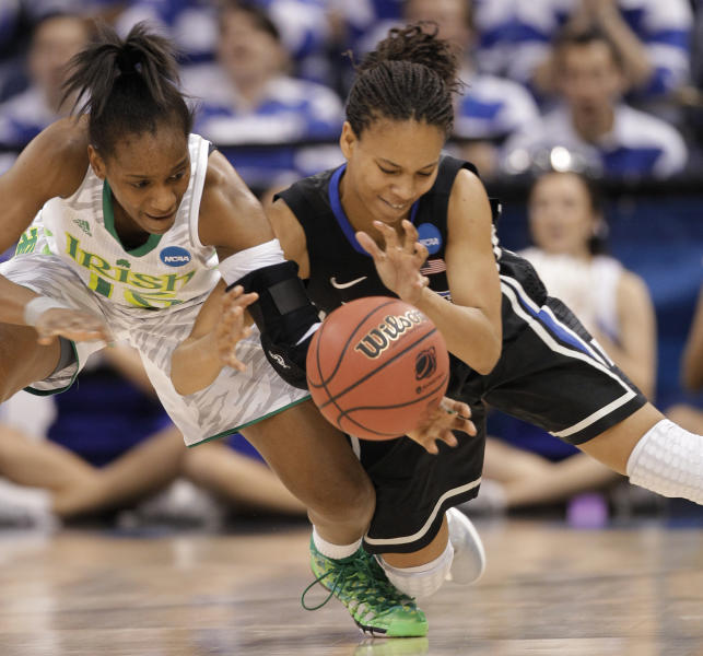 Notre Dame guard Kaila Turner, left, tries to control the ball as Duke guard Chloe Wells (4) makes the steal during the first half of the regional final of the NCAA women's college basketball tournament Tuesday, April 2, 2013, in Norfolk, Va. (AP Photo/Steve Helber)