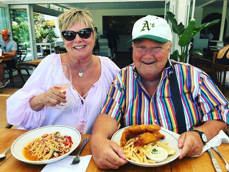 Jono Coleman having lunch at a restaurant with his wife, Margot