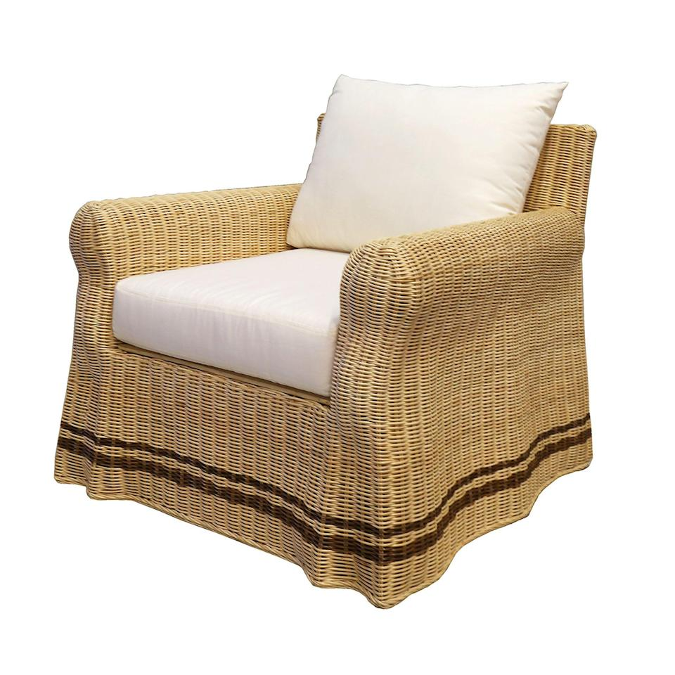 """<p>nicholashaslam.com</p><p><strong>£2499.90</strong></p><p><a href=""""https://nicholashaslam.com/shop/seating/chairs/gipsy-rattan-armchair/"""" rel=""""nofollow noopener"""" target=""""_blank"""" data-ylk=""""slk:Shop Now"""" class=""""link rapid-noclick-resp"""">Shop Now</a></p><p>A twist on a classic club chair, <a href=""""https://nicholashaslam.com/"""" rel=""""nofollow noopener"""" target=""""_blank"""" data-ylk=""""slk:Paolo Moschino for Nicolas Haslam's"""" class=""""link rapid-noclick-resp"""">Paolo Moschino for Nicolas Haslam's</a> playful design has sculpted rattan to create the effect of draped fabric.</p>"""