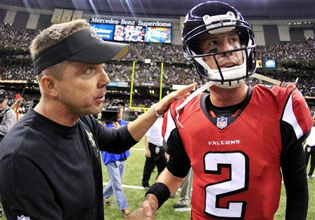 New Orleans Saints head coach Sean Payton is congratulated by Atlanta Falcons quarterback Matt Ryan after the Saints defeated the Falcons during their NFL football game in New Orleans, Louisiana September 8, 2013. REUTERS/Sean Gardner