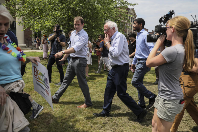 Cameras film Sen. Bernie Sanders as he attends the Nashua Pride Parade in New Hampshire on June 29, 2019.