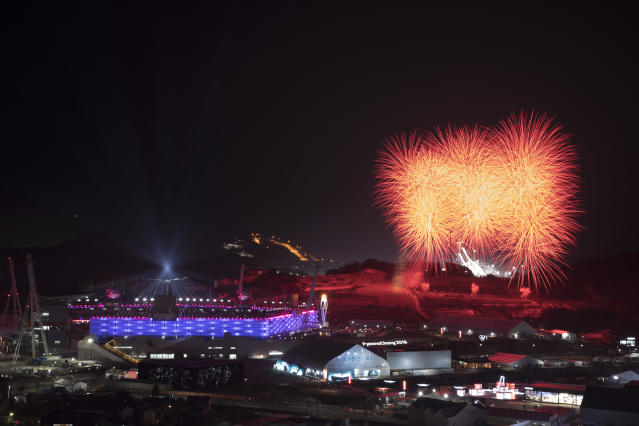 <p>Fireworks explode behind the Olympic Stadium during the closing ceremony of the 2018 Winter Olympics in Pyeongchang, South Korea, Sunday, Feb. 25, 2018. (AP Photo/Felipe Dana) </p>