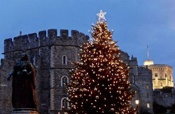PHOTO:A tree outside Windsor castle is decorated for Christmas, in Windsor, England, Nov. 17, 2019. (Geoffrey Swaine/Rex/Shutterstock)