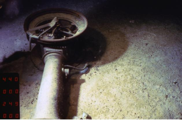 An image provided by RMS Titanic, Inc., shows a ships telegraph from the RMS Titanic on the ocean floor during an expeditions to the site of the tradegy.