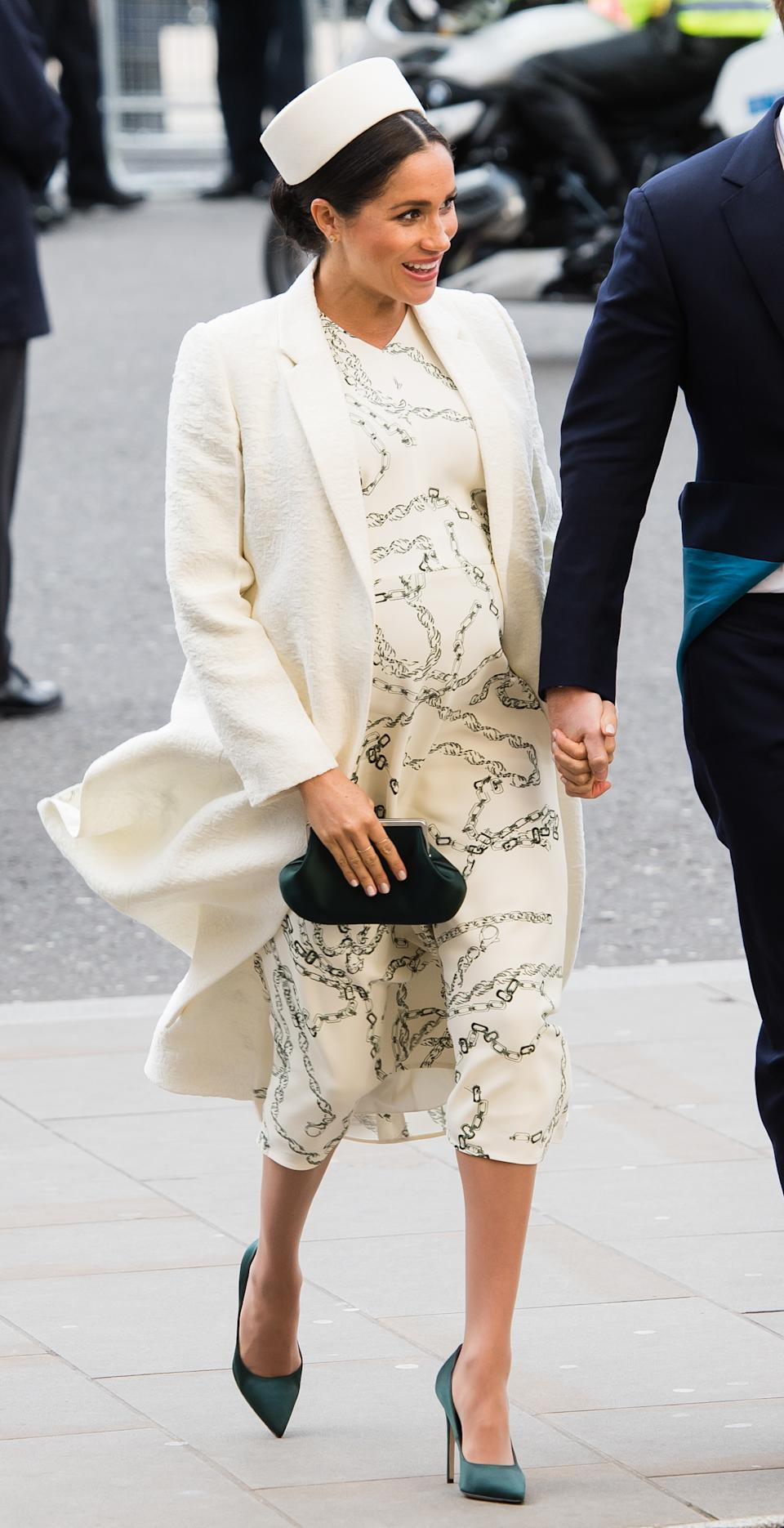Markle wore all white, yet again, for Commonwealth Day 2019. However, this dress had some more detail. (Photo: Getty Images)