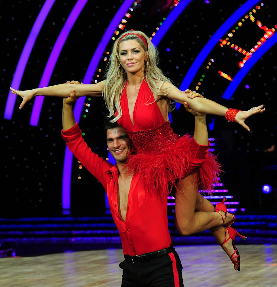 Abbey Clancy and Aljaz Skorjanec during a press call for the UK Strictly Come Dancing Live Tour 2014 starting in Birmingham on Friday at the National Indoor Arena, Birmingham.