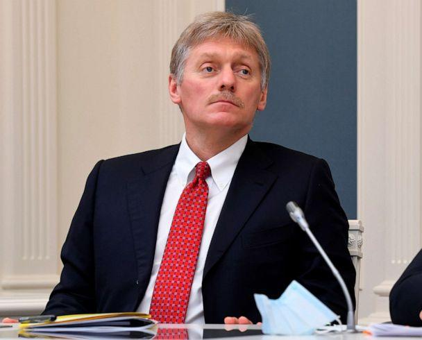 PHOTO: In this file photo taken on April 14, 2020, Kremlin spokesman Dmitry Peskov attends a video conference with Russian President Vladimir Putin at a situation center in the Kremlin in Moscow, Russia. (Alexei Nikolsky/AP)