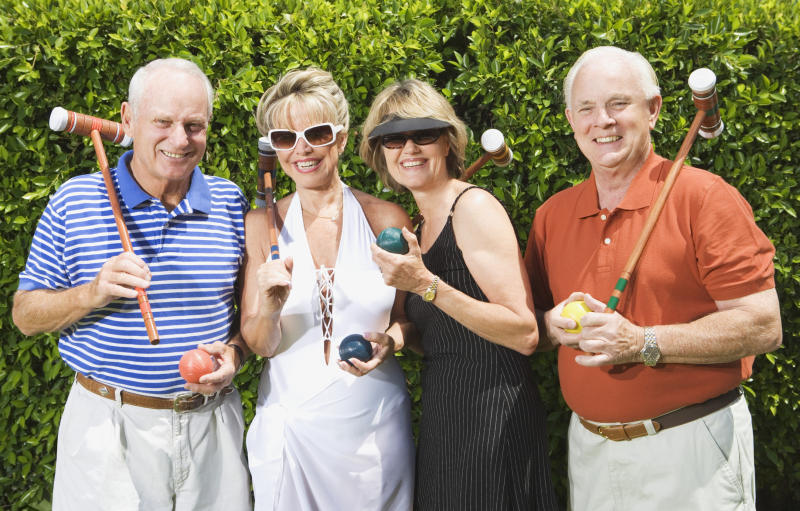 Pictured: Two rich couples play croquet: Image: Getty