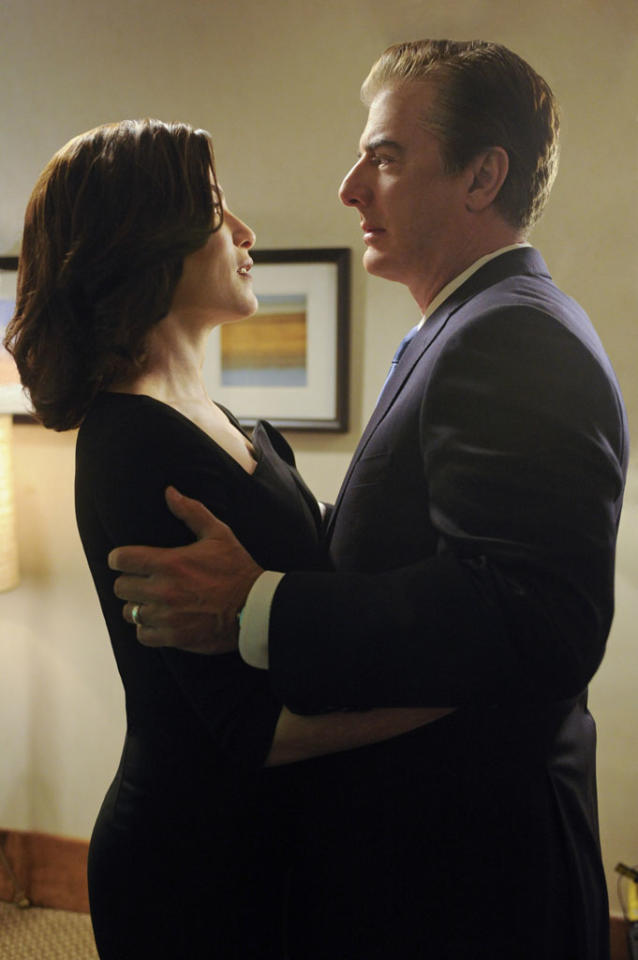 """""""What's in the Box?"""" -- Alicia (Julianna Margulies) and Peter (Chris Noth) share a quiet moment on the eve of the gubernatorial election, on """"The Good Wife."""""""