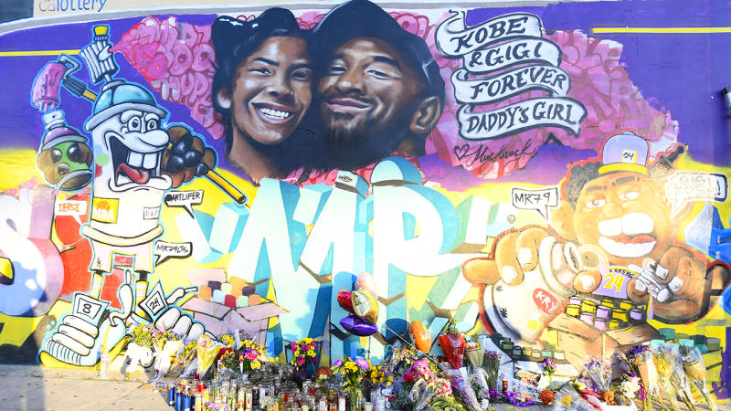 A mural for Kobe Bryant and daughter Gianna, pictured here outside the Staples Centre in Los Angeles.