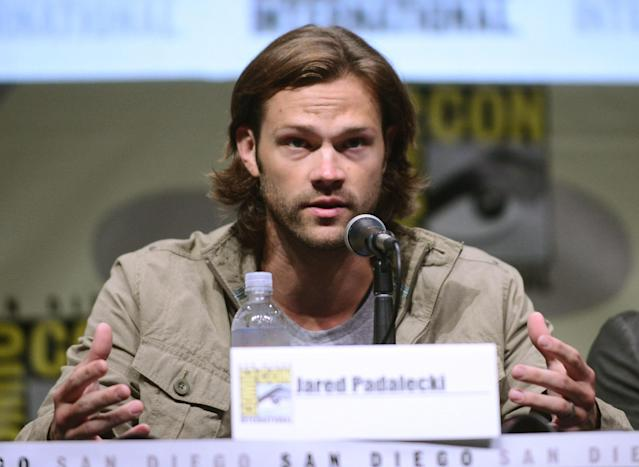 "Jared Padalecki speaks onstage at the ""Supernatural"" panel during Comic-Con International 2013 at San Diego Convention Center on July 21, 2013 in San Diego, California."
