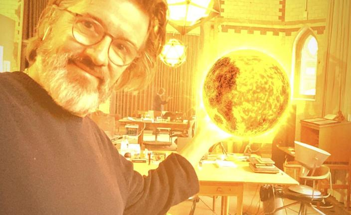 Scandinavian artist Olafur Eliasson proudly displays his new augmented reality artwork pp.