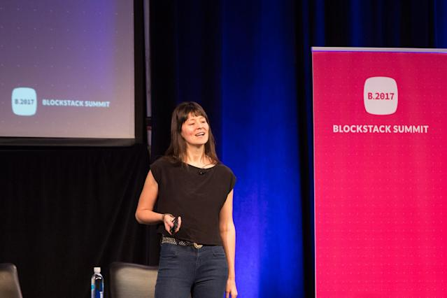 Elizabeth Stark, CEO of Lightning Labs, at Blockstack Summit in Mountain View, Calif., in August 2017. (Blockstack)