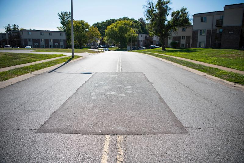 The location of Michael Brown's 2014 death in Ferguson. (Damon Dahlen/HuffPost)