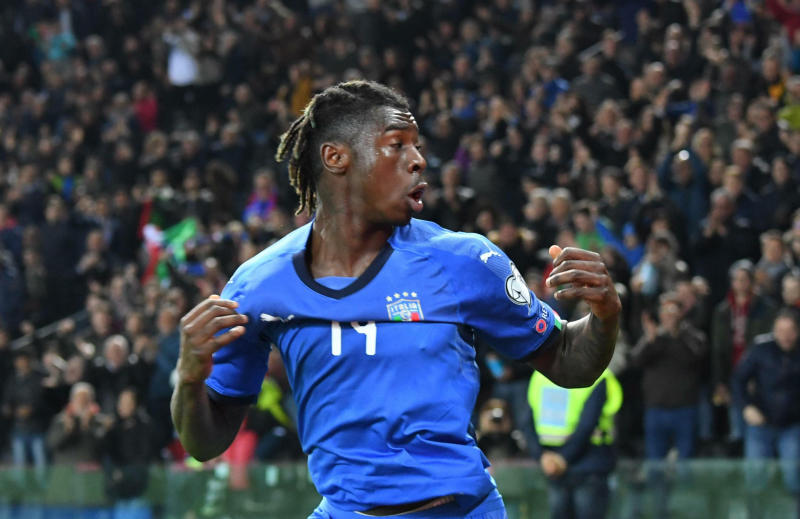 Italy's Moise Kean celebrates after scoring his side's second goal during the Euro 2020 Group J qualifying soccer match between Italy and Finland at the Friuli-Dacia Arena stadium in Udine, Italy, Saturday, March 23, 2019. (Alberto Lancia/ANSA via AP)