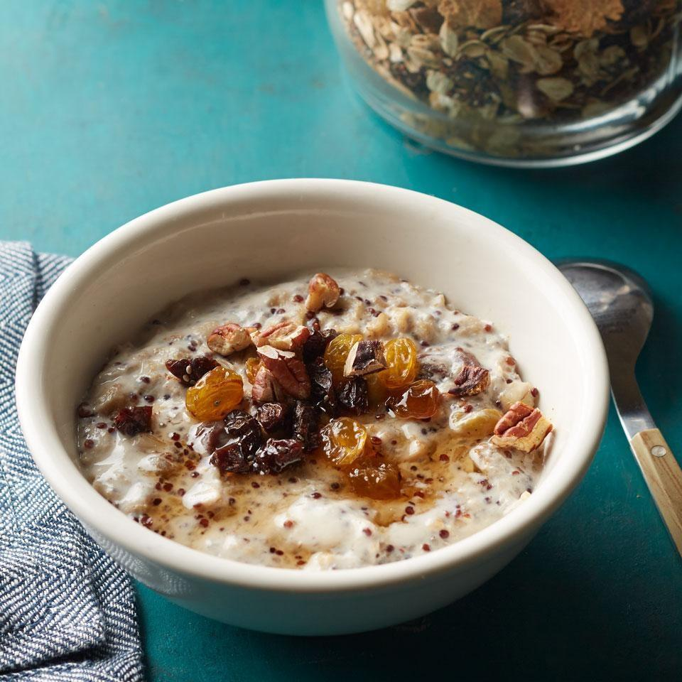 <p>Make your own hot cereal mix with this healthy recipe. Keep it on hand and just cook up the amount you need when you're ready for a hot breakfast. One serving of the warm cereal contains 6 grams of fiber--almost a quarter of your daily quota-which helps stave off hunger throughout the morning.</p>