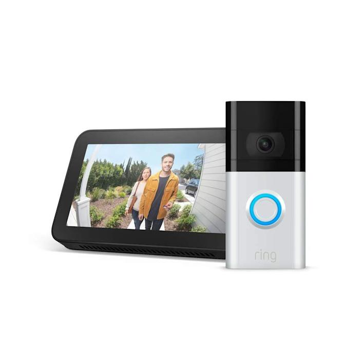 """Another home tech option, the Ring Doorbell shows you who's ringing your doorbell, what packages have arrived, and who's walking by. You can keep an eye on your front door no matter where you are, and it gives great peace of mind. You can view the camera from your phone, of course, but this set also comes with an Echo 5 so you can have a look at the door without necessarily having your phone on hand. $290, Amazon. <a href=""""https://www.amazon.com/dp/B085VHPH8P?ref=MarsFS_VICC_rvd3&th=1"""" rel=""""nofollow noopener"""" target=""""_blank"""" data-ylk=""""slk:Get it now!"""" class=""""link rapid-noclick-resp"""">Get it now!</a>"""