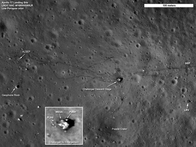 Apollo 17 Moon Landing Site Seen by Lunar Reconnaissance Orbiter. The twists and turns of the last tracks left by humans on the moon crisscross the surface in this LRO image of the Apollo 17 site. In the thin lunar soil, the trails made by astronauts on foot can be easily distinguished from the dual tracks left by the lunar roving vehicle, or LRV. Also seen in this image are the descent stage of the Challenger lunar module and the LRV, parked to the east. Credit: NASA/Goddard/ASU