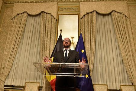 Belgium's Prime Minister Charles Michel holds a news conference in Brussels, Belgium December 8, 2018. REUTERS/Eric Vidal