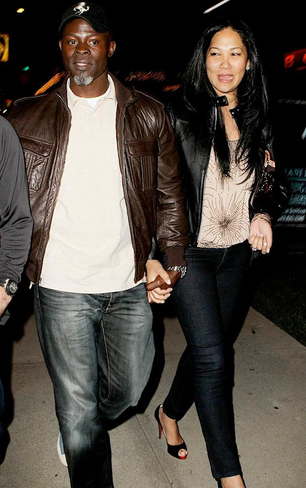"Djimon Hounsou and Kimora Lee Simmons walk hand-in-hand upon exiting BOA steakhouse in West Hollywood, California. ICE/Campos/<a href=""http://www.x17online.com"" target=""new"">X17 Online</a> - January 6, 2010"