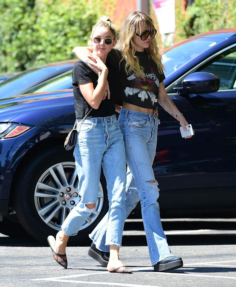 Miley Cyrus and Kaitlynn Carter seen in Los Angeles earlier this month. (Photo: Chris Wolf/STAR MAX/IPx)