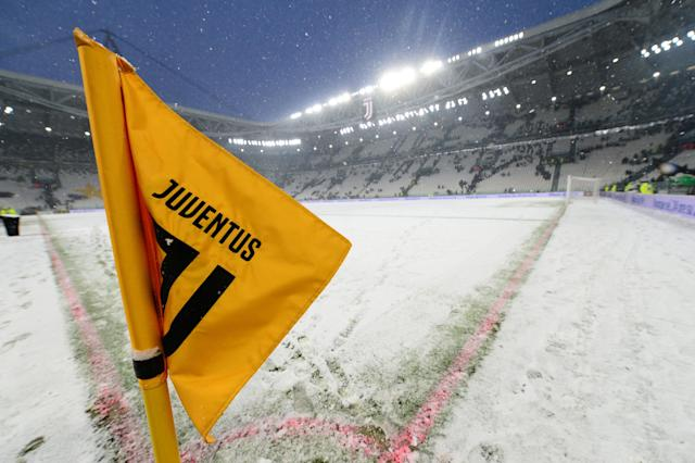 Soccer Football - Serie A - Juventus v Atalanta - Allianz Stadium, Turin, Italy - February 25, 2018 General view of the snow on the pitch before the match was postponed REUTERS/Massimo Pinca