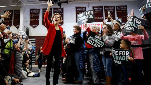 PHOTO: Democratic presidential candidate Sen. Elizabeth Warren, D-Mass., arrives for a campaign event at Lebanon High School, Feb. 9, 2020, in Lebanon, N.H. (Matt Rourke/AP)
