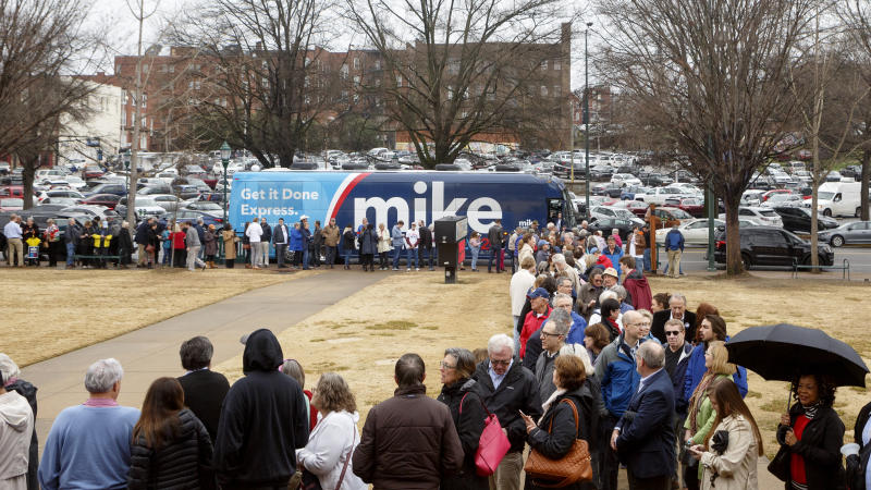 People lineup outside of the Bessie Smith Cultural Center to get inside for a Mike Bloomberg rally on Wednesday, Feb. 12, 2020 in Chattanooga, Tenn. (C.B. Schmelter /Chattanooga Times Free Press via AP)