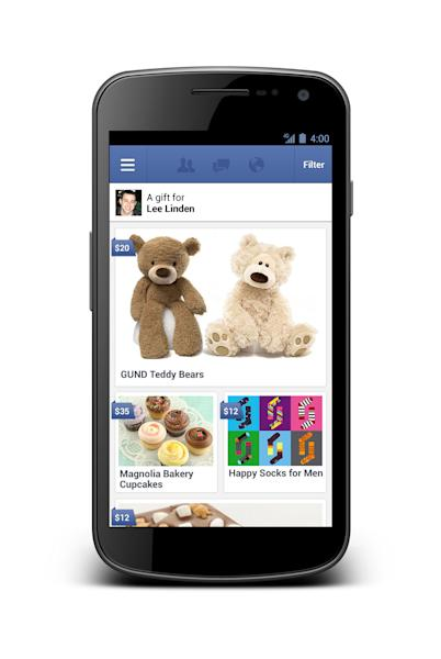 This undated image provided by Facebook shows a new service called Gifts which, as its name suggests, lets users send chocolate, coffee, socks and other real-life presents to one another. Facebook Gifts will be available Thursday, Sept. 27, 2012, to a subset of users in the U.S. and will roll out to more over the coming months as people begin to send gifts to each other. (AP Photo/Facebook)