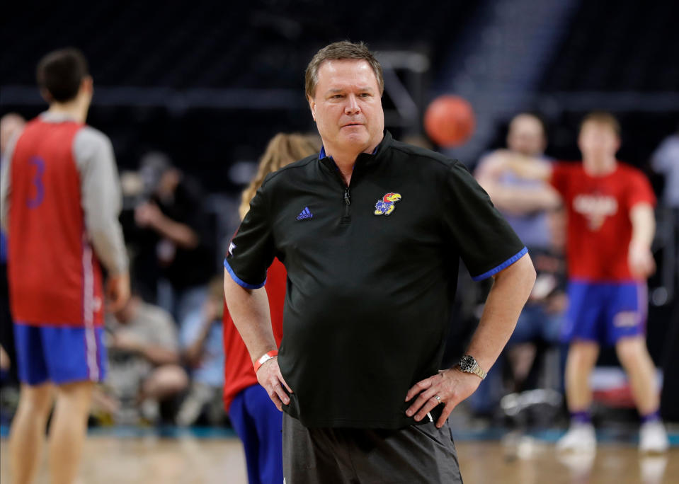 Kansas head coach Bill Self watches his team during a practice session for the Final Four NCAA college basketball tournament, Friday, March 30, 2018, in San Antonio. (AP Photo/Eric Gay)