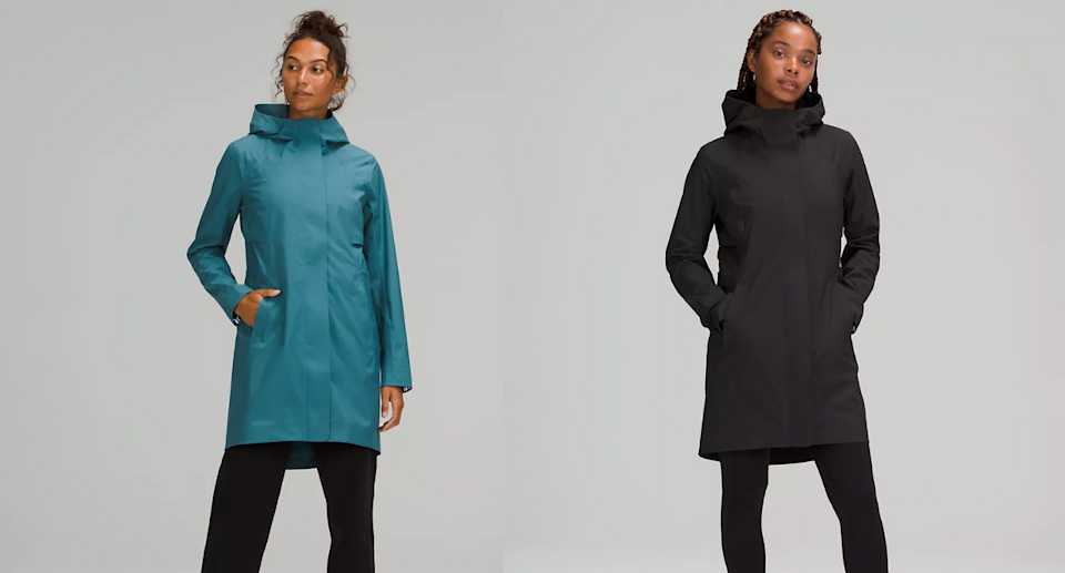 The new and improved Rain Rebel jacket is a must-have ahead of wet fall weather. Images via Lululemon.