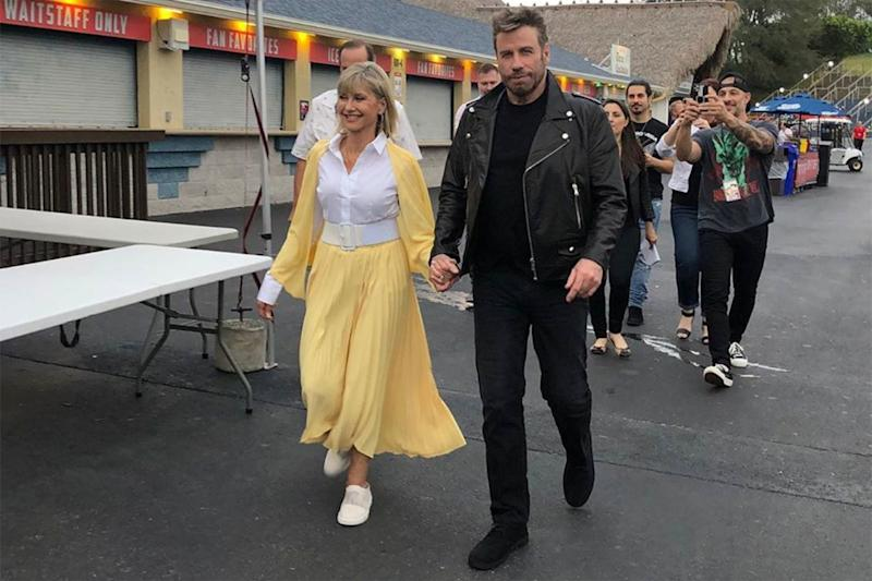 Olivia Newton-John and John Travolta reprise their Grease characters for the first time ever