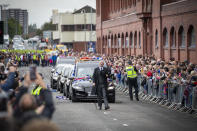 The Funeral procession passes Ibrox. (Photo by Jane Barlow/PA Images via Getty Images)