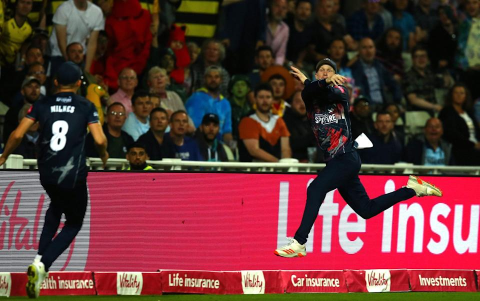 Cox parried the ball back to Matt Miles, mid-air, in an incredible bit of fielding - Getty Images