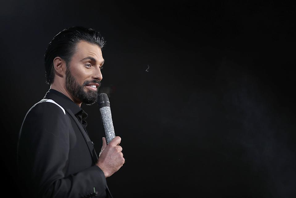 BOREHAMWOOD, ENGLAND - FEBRUARY 02:  Rylan Clark-Neal during the 2018 Celebrity Big Brother Final at Elstree Studios on February 2, 2018 in Borehamwood, England.  (Photo by Mike Marsland/Mike Marsland/WireImage)